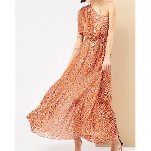 Φόρεμα μάξι με πολύχρωμα πουά
