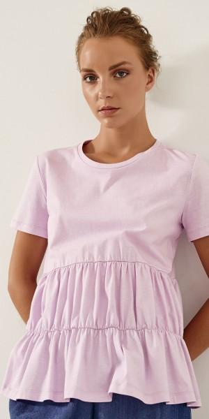Μπλούζα βαμβακερή με ραφές και σούρες