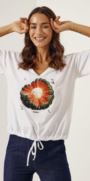 T-shirt με τύπωμα και κορδόνια