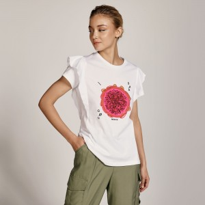 T-shirt βαμβακερό με τύπωμα και βολάν