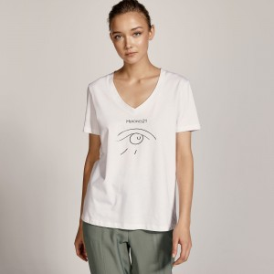 Μπλούζα με V λαιμόκοψη και τύπωμα Heroines21