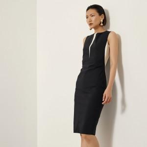 Φόρεμα pencil με συνδυασμό υφάσματος