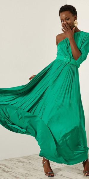 Φόρεμα μάξι πλισέ με ένα ώμο